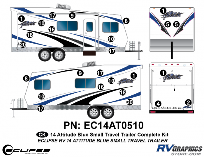 2014 BLUE Attitude Sm Travel Trailer Complete Graphics Kit