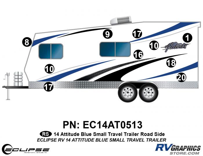2014 BLUE Attitude Sm Travel Trailer Left Side Graphics Kit