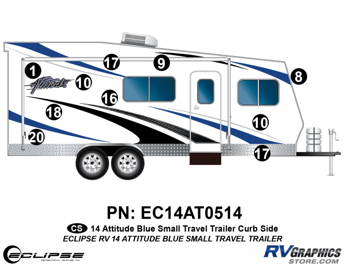 2014 BLUE Attitude Sm Travel Trailer Right Side Graphics Kit