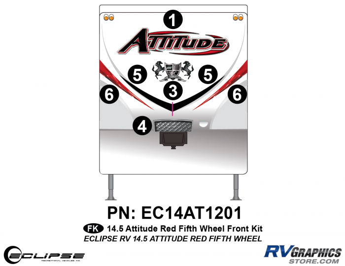 2014.5 Red Attitude FW Front Graphics Kit