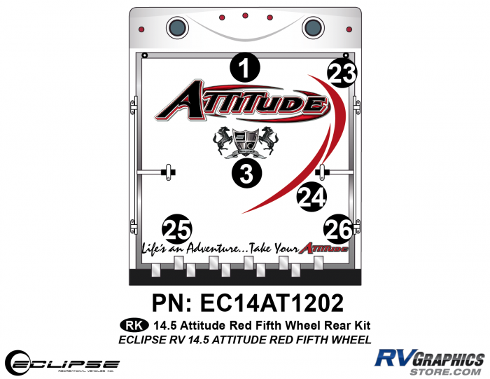 2014.5 Red Attitude FW Rear Graphics Kit