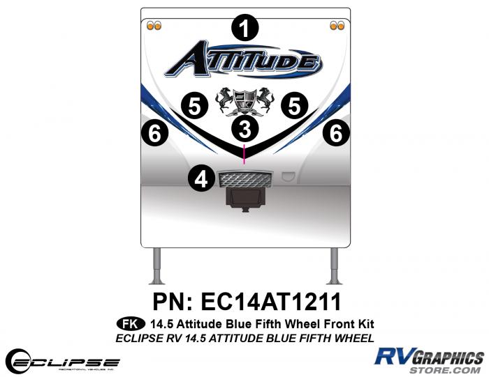 2014.5 Blue  Attitude FW Front Graphics Kit