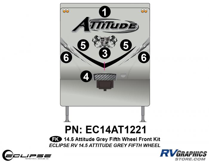 2014.5 Gray on Gray  Attitude FW Front Graphics Kit