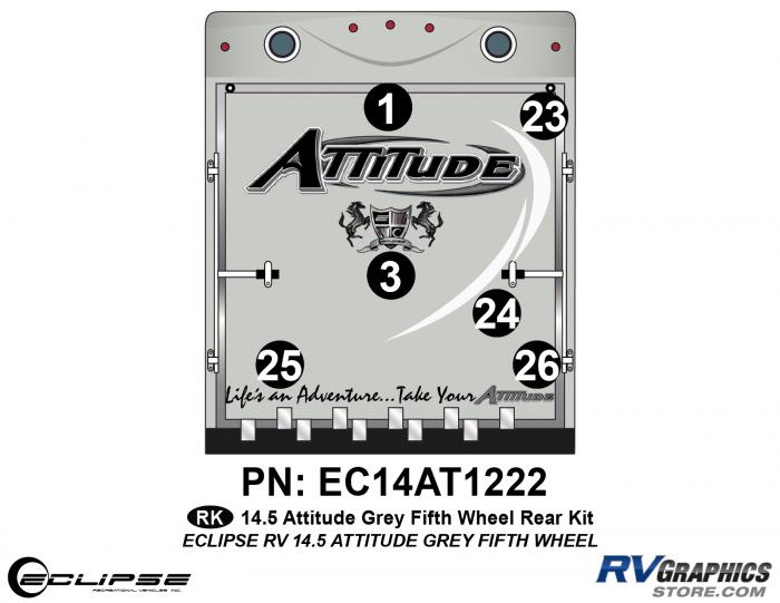 2014.5 Gray on Gray Attitude FW Rear Graphics Kit