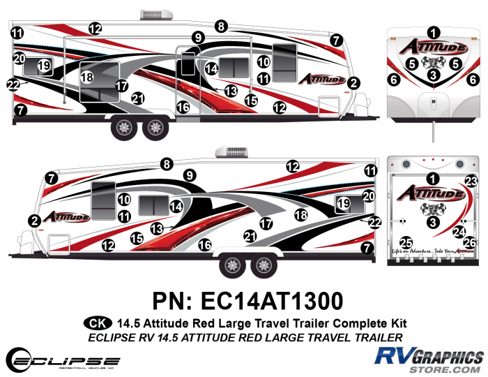 2014.5 Red Attitude Lg TT Complete Graphics Kit