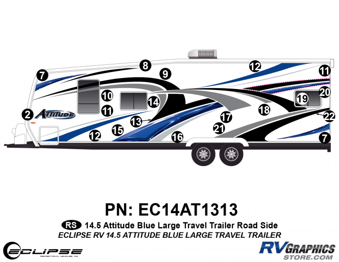 2014.5 Blue Attitude Lg TT Left Side Graphics Kit