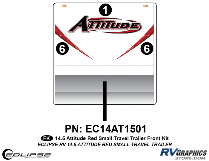 2014.5 Red  Attitude Sm TT Front Graphics Kit