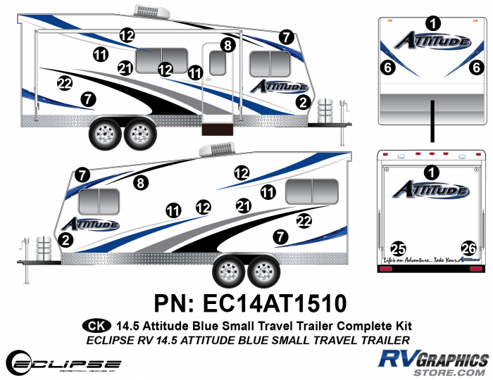2014.5 Blue  Attitude Sm TT Complete Graphics Kit
