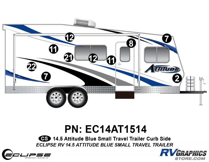 2014.5 Blue  Attitude Sm TT Right Side Graphics Kit