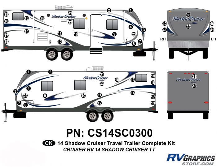 48 Piece 2014 Shadow Cruiser Travel Trailer Complete Graphics Kit