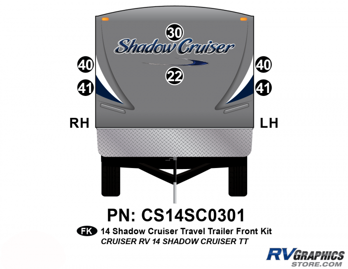 6 Piece 2014 Shadow Cruiser Travel Trailer Front Graphics Kit