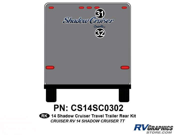 2 Piece 2014 Shadow Cruiser Travel Trailer Rear Graphics Kit