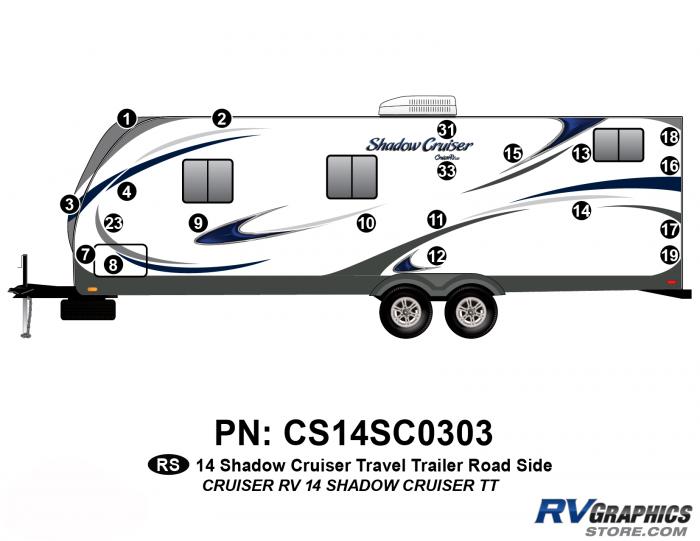 20 Piece 2014 Shadow Cruiser Travel Trailer Roadside Graphics Kit