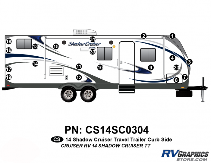 20 Piece 2014 Shadow Cruiser Travel Trailer Curbside Graphics Kit