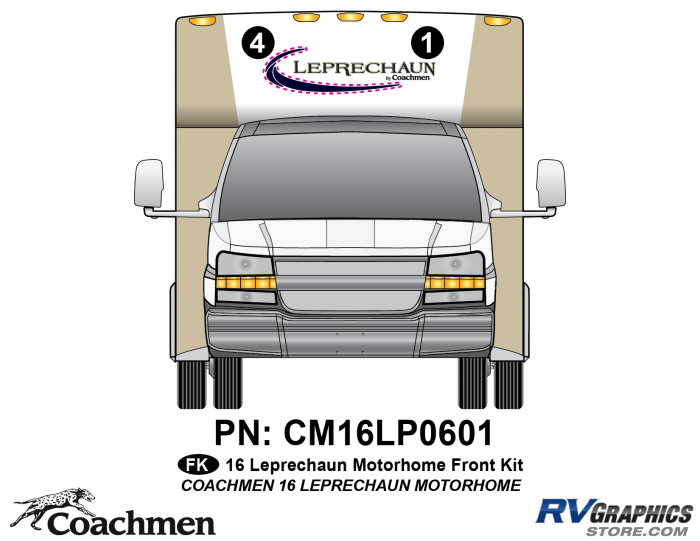 2 Piece 2016 Leprechaun Class C Front Graphics Kit
