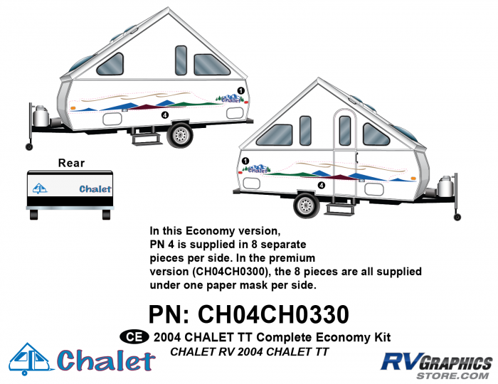 20 Piece 2004 Chalet TT Complete Economy Graphics Kit
