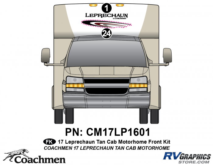 2 Piece 2017 Leprechaun Tan Cab Front Graphics Kit