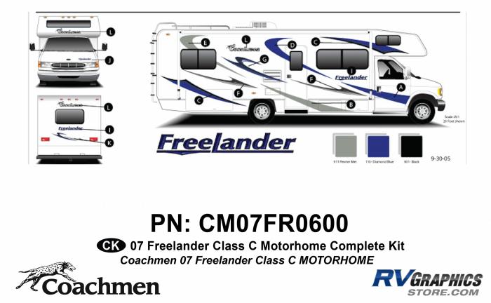 21 Piece 2007 Freelander Class C MH Complete Graphics Kit