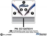 2012 BLUE Attitude Lg Travel Trailer Front Graphics Kit