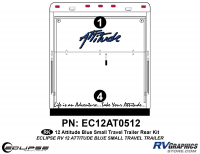 Attitude - 2012 Attitude Toyhauler Trailer Sm Blue - 2012 BLUE Attitude Sm Travel Trailer Rear Graphics Kit
