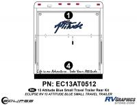 2013 BLUE Attitude Sm Travel Trailer Rear Graphics Kit