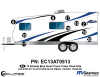 Attitude - 2013 Sm TT-Small Travel Trailer Blue - 2013 BLUE Attitude Sm Travel Trailer Left Side Graphics Kit