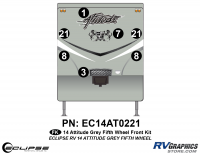 Attitude - 2014 FW-Fifth Wheel Gray - 2014 Gray Attitude Fifth Wheel Front Graphics Kit