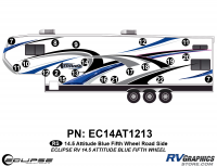 Attitude - 2014.5 FW-Fifth Wheel Blue - 2014.5 Blue  Attitude FW Left Side Graphics Kit