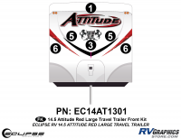 Attitude - 2014.5 Attitude Toyhauler Trailer Lg-Red - 2014.5 Red  Attitude Lg TT Front Graphics Kit