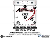 Attitude - 2014.5 Attitude Toyhauler Trailer Lg-Red - 2014.5 Red  Attitude Lg TT Rear Graphics Kit