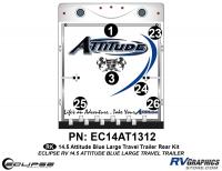 Attitude - 2014.5 Attitude Toyhauler Trailer Lg Blue - 2014.5 Blue Attitude Lg TT Rear Graphics Kit
