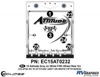 2015 Gray on White Attitude FW Rear Graphics Kit