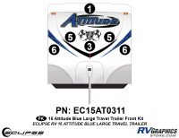 Attitude - 2015 Attitude Toyhauler Trailer Lg Blue - 2015 Blue Attitude Lg TT Front Graphics Kit
