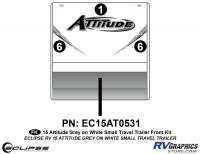 Attitude - 2015 Sm TT-Gray on White - 2015 Gray on White Attitude Sm TT Front Graphics Kit