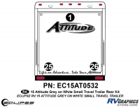 Attitude - 2015 Sm TT-Gray on White - 2015 Gray on White Attitude Sm TT Rear Graphics Kit