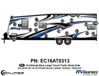 Attitude - 2016 Attitude Toyhauler Trailer Lg Blue - 2016 Blue Attitude Lg Travel Trailer Left Side Graphics Kit