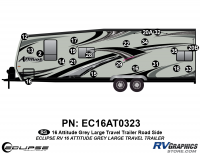 Attitude - 2016 Lg TT-Gray - 2016 Gray on Gray Attitude Lg Travel Trailer Left Side Graphics Kit