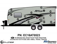Attitude - 2016 Sm TT-Gray - 2016 Gray Attitude Sm Travel Trailer Left Side Graphics Kit