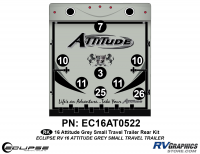 Attitude - 2016 Sm TT-Gray - 2016 Gray Attitude Sm Travel Trailer Rear Graphics Kit