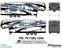 33 Piece 2015 Blaze'n Blue Fifth Wheel Complete Graphics Kit