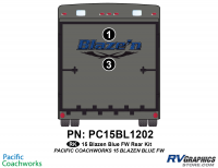 2 Piece 2015 Blaze'n Blue Fifth Wheel Rear Graphics Kit