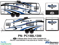 28 Piece 2015 Blaze'n Blue Travel Trailer Complete Graphics Kit
