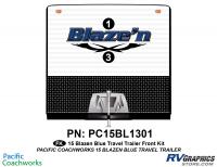 Blaze'n - 2015 Blaze'n TT-Travel Trailer Blue Version - 2 Piece 2015 Blaze'n Blue Travel Trailer Front Graphics Kit
