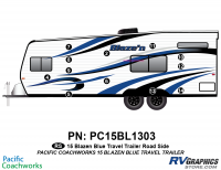 Blaze'n - 2015 Blaze'n TT-Travel Trailer Blue Version - 12 Piece 2015 Blaze'n Blue Travel Trailer Roadside Graphics Kit