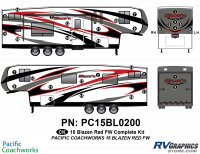 33 Piece 2015 Blaze'n Red Fifth Wheel Complete Graphics Kit