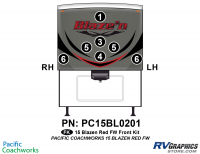 Blaze'n - 2015 Blaze'n FW-Fifth Wheel Red Version - 7 Piece 2015 Blaze'n Red Fifth Wheel Front Graphics Kit