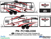 28 Piece 2015 Blaze'n Red Travel Trailer Complete Graphics Kit