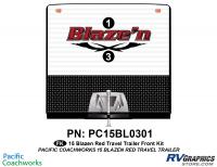 Blaze'n - 2015 Blaze'n TT-Travel Trailer Red Version - 2 Piece 2015 Blaze'n Red Travel Trailer Front Graphics Kit