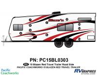 Blaze'n - 2015 Blaze'n TT-Travel Trailer Red Version - 12 Piece 2015 Blaze'n Red Travel Trailer Roadside Graphics Kit