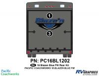 2 Piece 2016 Blaze'n Blue Fifth Wheel Rear Graphics Kit
